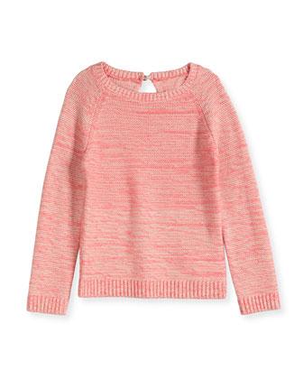 Long-Sleeve Raglan Sweater, Heather Pink, Size 8-14