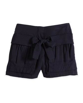 Pleated Shorts w/ Tie Detail, Navy, Size 8-14