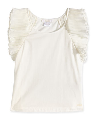 Sleeveless Jersey Tank w/ Chiffon Detail, Off White, Size 8-14