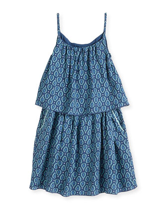 Graphic-Print Tiered Dress, Blue, Size 8-14