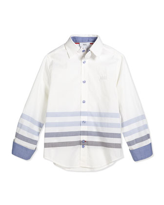 Striped Long-Sleeve Poplin Shirt, White, Size 4-10