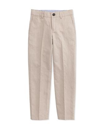 Linen-Blend Dress Pants, Stone, Size 4-10