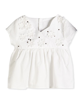 3D Flower Voile Blouse, White, Size 6-18 Months