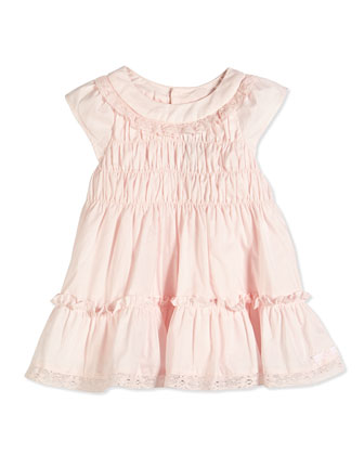 Lace-Trim Cap-Sleeve Voile Dress, Light Pink, Sizes 6-18 Months