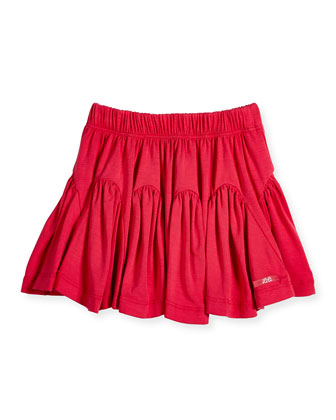 Sectional A-Line Jersey Skirt, Pink, Size 2-6