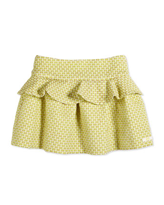 Pin Dot-Jacquard Peplum Skirt, Light Yellow, Size 8-12