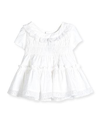 Lace-Trim Cotton Voile Dress, White, Size 8-12