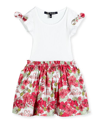 Floral-Print Contrast Dress w/ Ribbed Top, White, Size 8-12