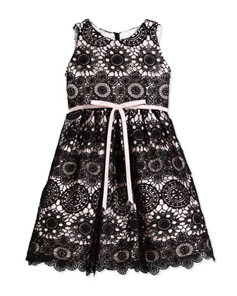 Lace-Overlay A-Line Dress, Black/Pink, Size 2-6X