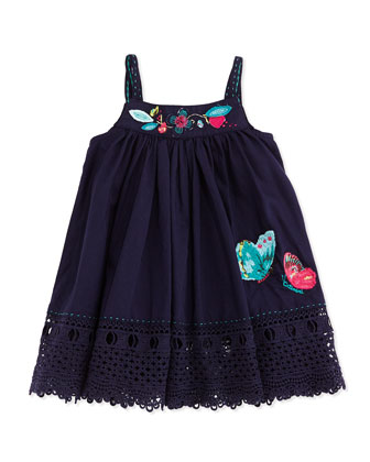 Sleeveless Cotton Poplin Dress, Navy, Size 3Y-6Y