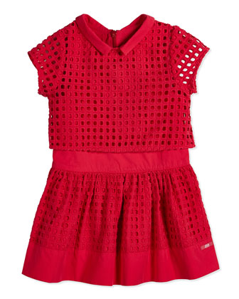 Eyelet Dress w/ Cropped Jacket, Bright Pink, Size 8-10