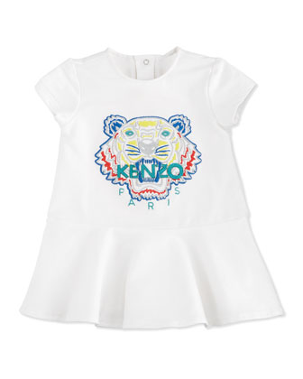 Short-Sleeve Tiger Flounce Dress, White, Size 3M-2Y