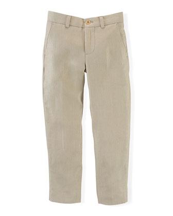 Linen Herringbone Preppy Pants, Classic Khaki, Size 2-7