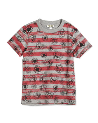 Logo-Graphic Striped Jersey Tee, Gray/Red, Size 2-5