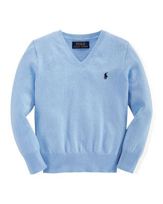 Cotton-Cashmere V-Neck Pullover Sweater, Austin Blue, Size 2-7