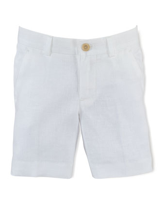 Chevron-Knit Linen Preppy Shorts, White, Size 2-7