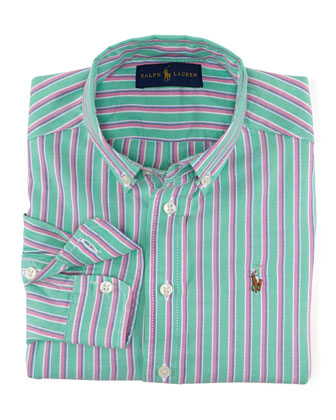 Blake Long-Sleeve Shadow-Striped Poplin Shirt, Green/Multicolor, Size 2-7