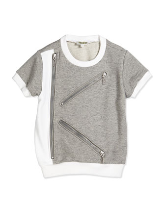 Short-Sleeve Fleece-Lined Tee, Gray/White, Size 6Y-12Y