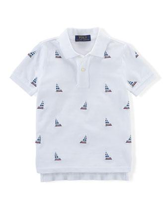 Embroidered Sailboat Mesh Polo Shirt, White, Size 2-7