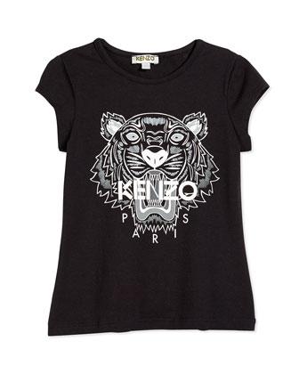 Short-Sleeve Tiger Jersey Tee, Black, Size 2Y-5Y