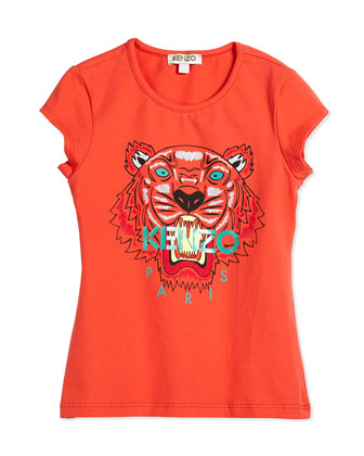 Short-Sleeve Tiger Jersey Tee, Orange, Size 6Y-12Y