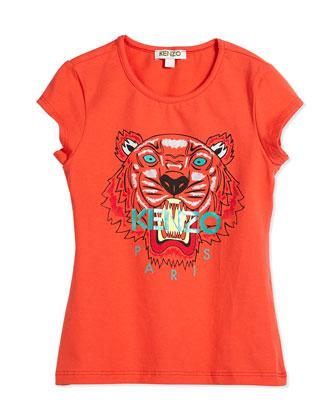 Short-Sleeve Tiger Jersey Tee, Orange, Size 2Y-5Y