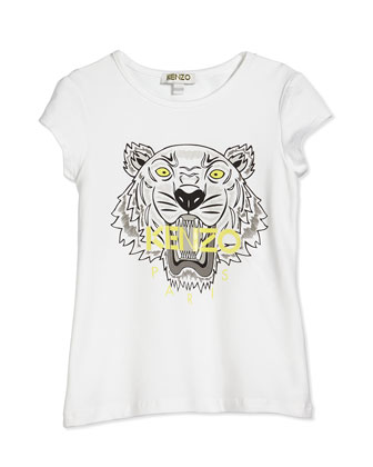 Short-Sleeve Tiger Jersey Tee, White, Size 2Y-5Y