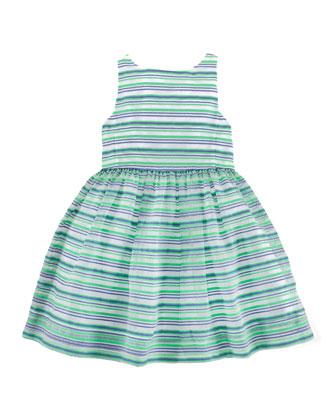 Sleeveless Ribbon-Striped Dress, Green/Multicolor, Size 2T-6X