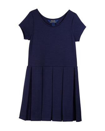 Sleeveless Pleated Ponte Dress, Newport Navy, Size 2T-6X