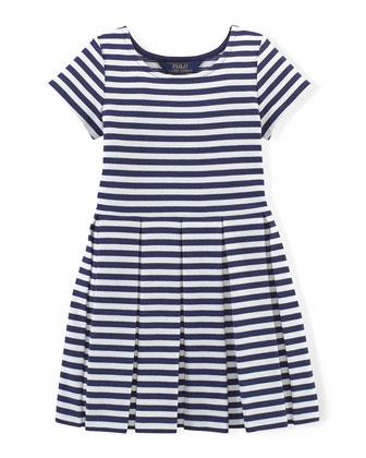 Striped Stretch-Jersey Dress, Navy/White, Size 2T-6X