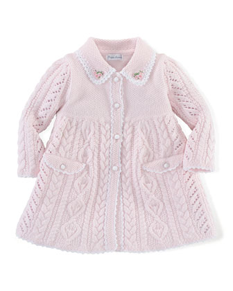 Lightweight Cable-Knit Coat, Delicate Pink, Size 3-24 Months