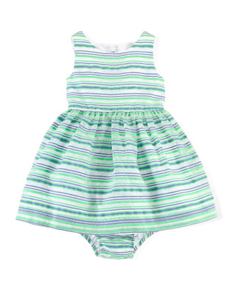 Striped A-Line Dress & Bloomers, Green, Size 9-24 Months