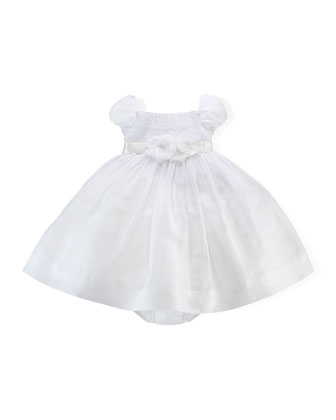 Embroidered Taffeta Dress & Bloomers, White, Size 3-24 Months