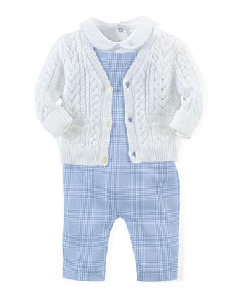 Cotton Sweater, Playsuit & Overalls, Blue/White, Size Newborn-12 Months