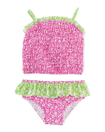 Floral-Print Tankini Swimsuit, Pink/Green, Size 9-24 Months