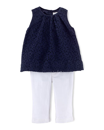 Sleeveless Lace Blouse & Stretch Jeans, Newport Navy/White, Size 6-24 Months