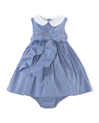 Bengal Stripe A-Line Poplin Dress, Blue/White, Size 6-24 Months