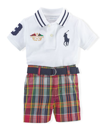 Mesh-Knit Polo, Belt & Plaid Shorts, White/Multicolor, Size 6-24 Months
