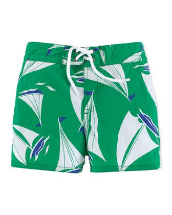 Sanibel Windjammer Swim Trunks, Green, Size 9-24 Months