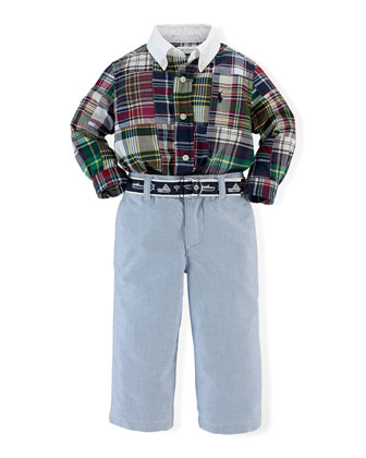 Patchwork Poplin Shirt, Embroidered Belt & Chambray Pants, Multicolor, Size 6-24 Months