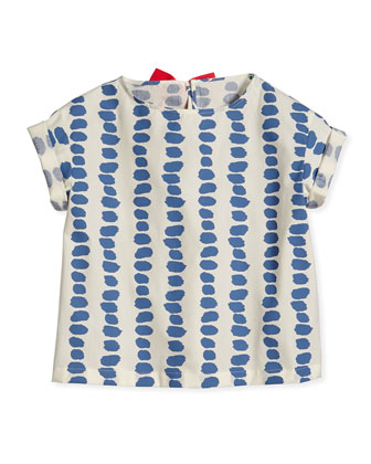 Paintbrush Striped Bow-Detailed Blouse, Blue/Pink, Sizes 3T-4T