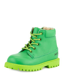 Atticus Leather Lace-Front Boot, Green, Toddler