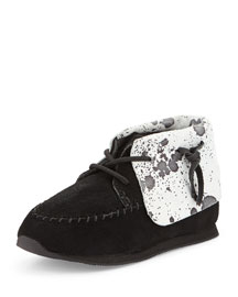Lace-Up Cow Skirt Sneaker, Black/White, Toddler