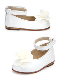 Floral-Trim Leather Ballet Flat, White, Girls' Sizes 6-9