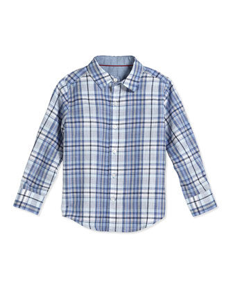 Long-Sleeve Plaid Poplin Shirt, Blissful Blue, Size 2-7