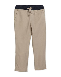 Linen Drawstring Casual Pants, Desert Sand, Size 2-7