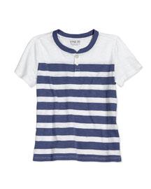 Striped Slub Henley Tee, Blue Moon, Size 2-7