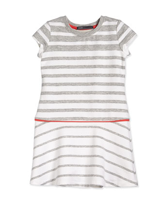 Striped Flounce Dress, Steel/White/Orange, Size 2-6