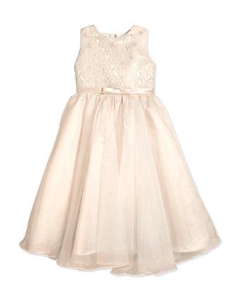 Sleeveless Organza Satin Dress, Ivory/Petal, 2-14