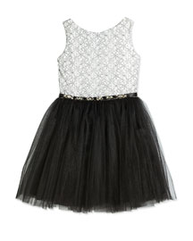 Floral-Embroidered Party Dress, Black/White, Size 8-14